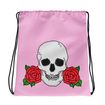 Skull and Rose Pink Drawstring Bag