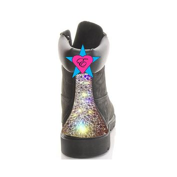 Custom Crystal Black Timberland Boots | Sparkly Bling Tims