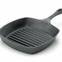 Emeril by All-Clad E96440 Pre-Seasoned Cast-Iron Square Grill Pan Fry Pan Cookware, 10-Inch, Black