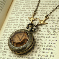 Amber Glass Pocket Watch Necklace - $30.00 : RagTraderVintage.com, Vintage Reborn!