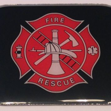 Fire Rescue Stainless Steel 2 Hole Dog Tags- Paracord Bracelets Necklaces Pendants Key Fobs