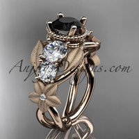 14kt rose gold diamond floral, leaf and vine wedding ring, engagement ring with Black Diamond center stone ADLR69