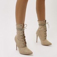 Spectrum Paperbag Lace Up Ankle Boots in Nude Faux Suede