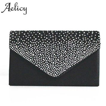 Aelicy Ladies girls Large Evening Satin Bridal Diamante Ladies Clutch Bag Party Prom Envelope Small Women Leather Crossbody bag