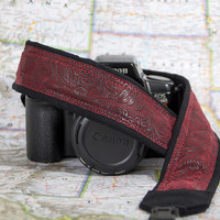 Faux Leather Camera Strap, Burgundy, Camera Neck Strap, Nikon or Canon Strap, Quick Release, Pocket, Vegan, Men or Women, Pocket, SLR, 197 w