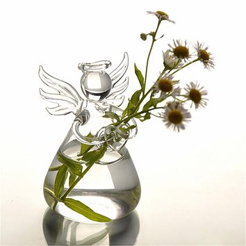Hot New Cute Glass Angel Shape Flower Plant Stand Hanging Vase Hydroponic Container Home Office Decor