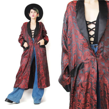 Long Vintage Kimono Paisley Brocade Satin Black and Red Smoking Jacket Silky Floor Length Robe Unisex Hugh Hefner Dressing Gown (M/L/XL)