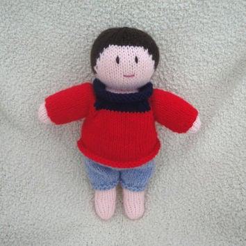Hand Knit Boy Doll, Red Sweater and Blue Pants, Brown Eyes and Hair