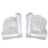 Clear/White Glass 9.5-inch x 3-inch x 6-inch Bookends (Set of 2) | Overstock.com Shopping - The Best Deals on Accent Pieces