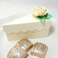 Ivory Cake Slice Favor Box - Wedding Favors, Shower Favors in Cream with Handmade Flowers