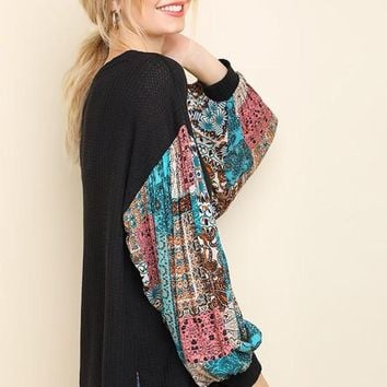 CHARLOTTE Paisley Puff Sleeve Knit Top In Black
