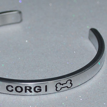 I Love My Corgi   |  Engraved Handmade Bracelet by: Say It and Wear It Jewelry