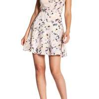 Honey Punch | Floral Print Satin Fit & Flare Dress | Nordstrom Rack