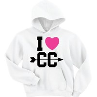I Heart (Love) Cross Country Hooded Black Sweatshirt Unisex