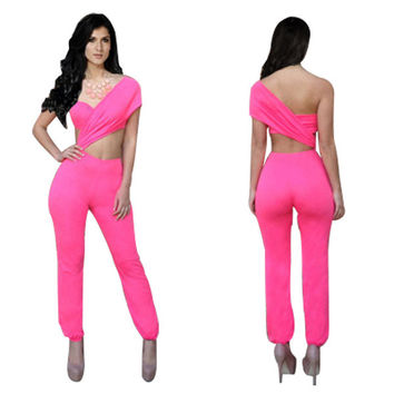 Pink Half Sleeve Cut-Out Jumpsuit