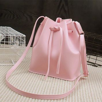 Fluorescence color Bucket Bag Women PU Leather HandBag Famous Designer Bags CrossBody Handbag Fashion Women Bags