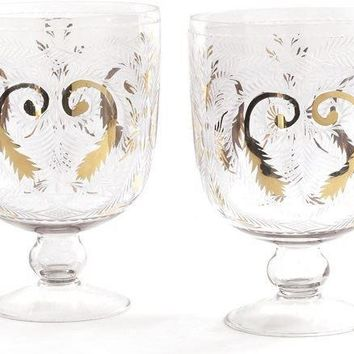 Pair Of Etched Glass Hurricanes With Gold Accents
