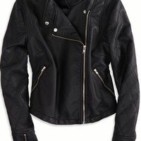 AEO Women's Cropped Vegan Leather Moto Jacket (Black)