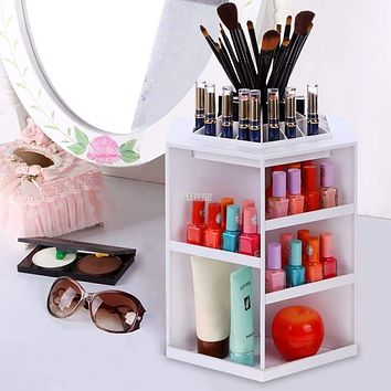 360 Degree Rotating Plastic Cosmetic Storage Makeup Organizer