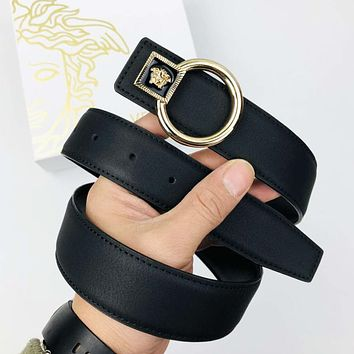 Versace New fashion metal buckle couple leather belt Black