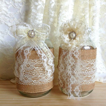 2 burlap and lace covered mason jar vases - wedding decoration, bridal shower decoration, country chic decoration