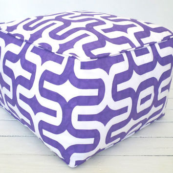 Large floor pouf 20x20x14, purple pouf ottoman,lilac floor cushion, square ottoman, bean bag chair