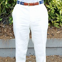 Rugby Plain-front Pant in White Linen by Country Club Prep - FINAL SALE
