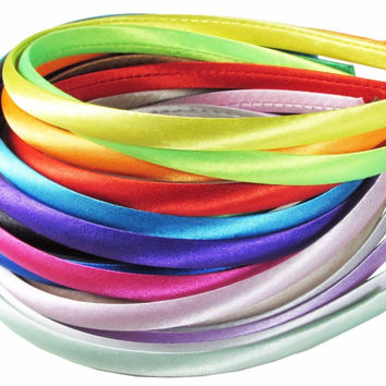 Girl Plastic Satin Covered Headbands narrow hair band bow hoop Teens