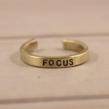 """FOCUS"" Skinny Adjustable Ring - Available in Brass & Copper"