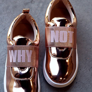 Why Not Elastic Metallic Patent Slip-On Sneakers | UrbanOG