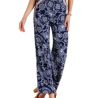 Navy Combo Embroidered Paisley Print Palazzo Pants by Charlotte Russe