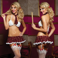Hot Women Sexy Lingerie Three-point England Style Sexy Skirt White Bra Student Costumes Uniform Underwear Bow tie Garter = 1932121156
