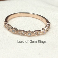 Reserved For leejo87,size 7.5# 10K rose gold SI/H Diamonds Half Eternity Wedding Band