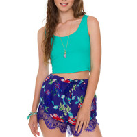 Connie Floral Shorts - Blue