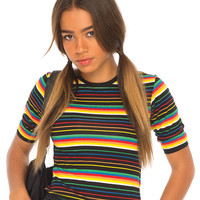 Tanga Tee in Black Rainbow Stripe by Motel