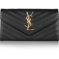 Saint Laurent - Monogramme quilted textured-leather wallet