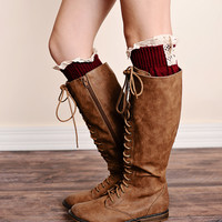 Boot Socks Cable Knit Lace Trim Wine Red Leg Warmers
