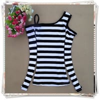 2013 Summer Night Shop Sexy Strapless Oblique Stripe Collar Tight T-Shirt
