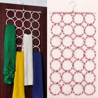 28 Count Circles Scarf Holder Stainless Steel Multifunctional Hanger Holder with Rattan for Socks Tie Scarf Belt Mufflers and Shawl Closet Organization (Size: 75cm by 39cm, Color: Multicolor)