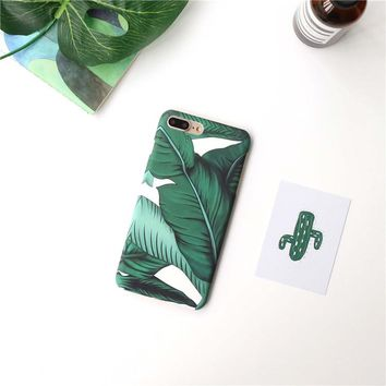 Summer Banana leaves phone Cases For iphone 6 6s 6plus 7 7Plus 8 8plus Scrub hard PC case back cover for iphone 6 case
