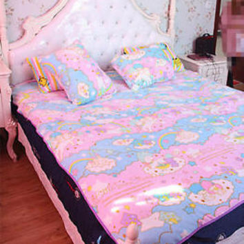 New Sanrio Little Twin Stars Soft Flannel Blanket Bed Sheet Bedding Girl Gifts