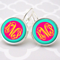 Aqua Pink Yellow Monogram Earrings, Bridesmaid Gift, Monogram Jewelry Personalized Earrings (494)