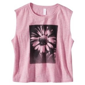 Xhilaration® Junior's Flower Graphic Muscle Tank - Coral