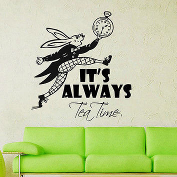 Wall Decals Quote It's Always Tea Time Sing Rabbit Decal Nursery Decor DS434