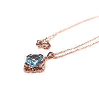 Square Bezel Necklace (Sky Blue Topaz) | Choo Yilin