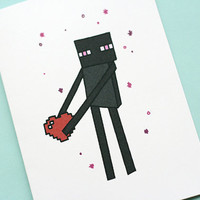 Minecraft Enderman Love Note Card