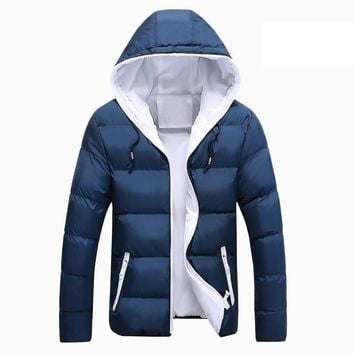 Mens Winter Jacket Hooded Wadded Coats Outerwear Male Slim Casual Cotton Outdoors Outwear Down Jackets