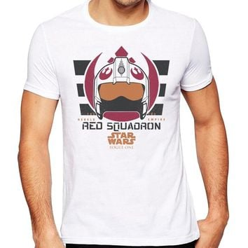 Men's 2018 Fashion Star Wars Red Squadron Design T Shirt High Quality Cool Tops Hipster Summer Tees