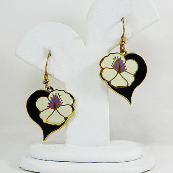 "Laurel Burch Dangling ""Hibiscus Heart"" Earrings for Pierced Ears White Enamel Flowers Pink Centers on Black Enamel Vintage 1980s 1990s"