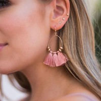 Lovebug Tassel Earrings in Mauve